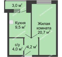 1 комнатная квартира 41,4 м² - Жилой дом: ул. Страж Революции