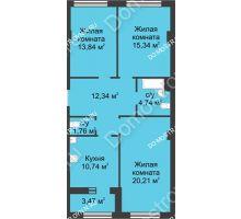 3 комнатная квартира 80,71 м² в ЖК Караваиха, дом № 5 - планировка