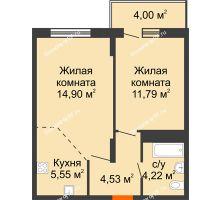 2 комнатная квартира 44,99 м² в ЖК Фрунзе, 85, дом № 3 - планировка