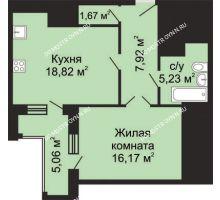 1 комнатная квартира 52,34 м², ЖК Гелиос - планировка