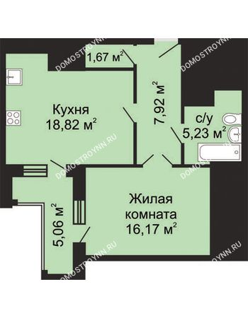 1 комнатная квартира 52,34 м² в ЖК Солнечный, дом № 5 - Гелиос