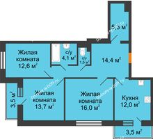3 комнатная квартира 82,9 м² в ЖК Южный Берег, дом Литер 6 - планировка
