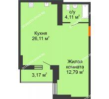Студия 44,5 м², ЖК Орбита - планировка