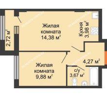 2 комнатная квартира 37,54 м², ЖК Каскад на Ленина - планировка