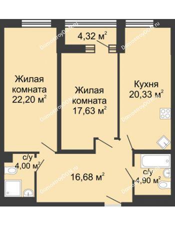 2 комнатная квартира 87,9 м² - ЖК Бристоль