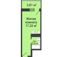 Студия 21,35 м² в ЖК Сельмаш, дом Литер 3 - планировка