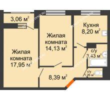 2 комнатная квартира 54,89 м², Жилой дом: ул. Сухопутная - планировка