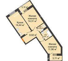 2 комнатная квартира 58,58 м², ЖД Жизнь - планировка