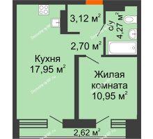 1 комнатная квартира 40,12 м² в Микрорайон Видный, дом ГП-20 - планировка
