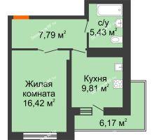 1 комнатная квартира 42,53 м², НЕБО на Ленинском, 215В - планировка