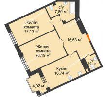 2 комнатная квартира 83,41 м², Дом премиум-класса Коллекция - планировка