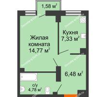 1 комнатная квартира 33,38 м², ЖК West Side (Вест Сайд) - планировка