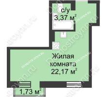 Студия 26,06 м² в ЖК Солнечный, дом д. 161 А/1 - планировка