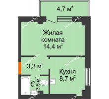 1 комнатная квартира 31,3 м² в ЖК Серебряный, дом № 5 - планировка
