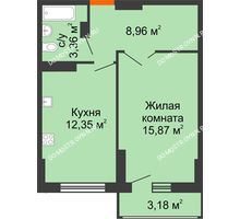 1 комнатная квартира 42,13 м², ЖК Орбита - планировка