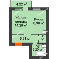 1 комнатная квартира 38,36 м², ЖК Новая Жизнь - планировка