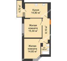 2 комнатная квартира 59 м² в ЖК Династия, дом Литер 2 - планировка