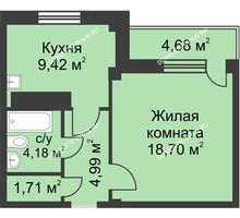 1 комнатная квартира 41,1 м² в ЖК На Победной, дом № 4