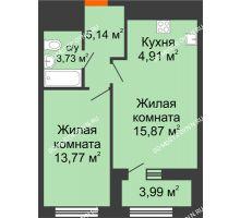 1 комнатная квартира 45,42 м² в ЖК Дом на Набережной, дом № 1 - планировка