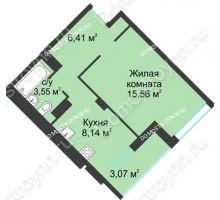 1 комнатная квартира 36,73 м² в ЖК На Вятской, дом № 3 (по генплану) - планировка