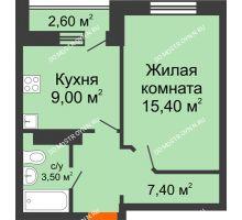 1 комнатная квартира 35,3 м² в ЖК Торпедо, дом № 1 - планировка