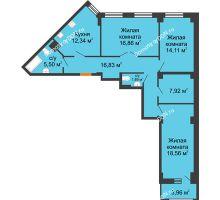3 комнатная квартира 95,98 м² в ЖК Кристалл, дом Литер 1 - планировка