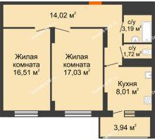 2 комнатная квартира 64,42 м² в ЖК Фрунзе, 85, дом № 3 - планировка