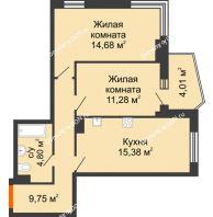 2 комнатная квартира 58,19 м² в ЖК Сердце Ростова 2, дом Литер 1 - планировка