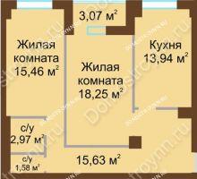 2 комнатная квартира 69,37 м² - ЖК Грани