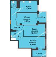 3 комнатная квартира 72,75 м² в ЖК Грин Парк, дом Литер 2 - планировка