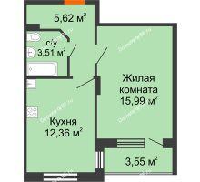 1 комнатная квартира 39,25 м², ЖК Розмарин - планировка