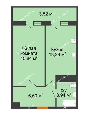 1 комнатная квартира 43,19 м² в ЖК Фамилия, дом Литер 1