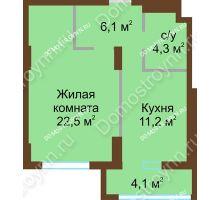 1 комнатная квартира 48,5 м² - ЖК Подкова Сормовская