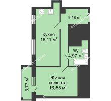 1 комнатная квартира 50,7 м², ЖК Гелиос - планировка