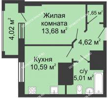 1 комнатная квартира 37,56 м², ЖК Гелиос - планировка