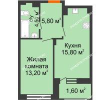 1 комнатная квартира 40,9 м² в ЖК Заречье, дом № 7 - планировка