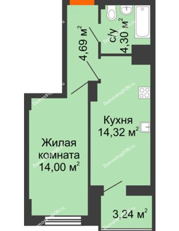 1 комнатная квартира 38,96 м² в ЖК Аврора, дом № 3