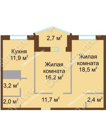 2 комнатная квартира 68,6 м² в ЖК Монолит, дом № 89, корп. 1, 2