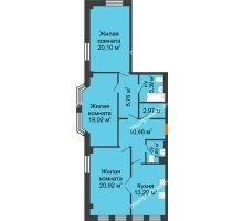 3 комнатная квартира 101,8 м² в ЖК Дом на Провиантской, дом № 12 - планировка