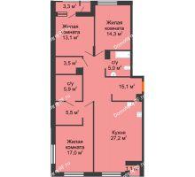 3 комнатная квартира 106,6 м², Жилой дом Фамилия - планировка