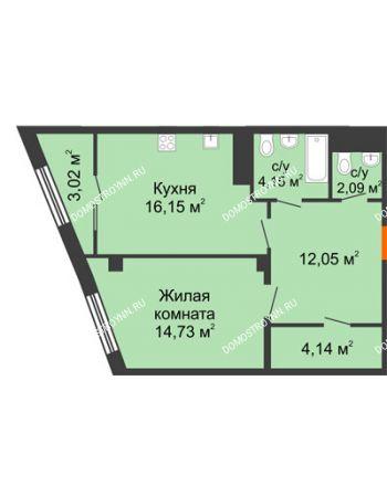 1 комнатная квартира 54,82 м² в ЖК Renaissance (Ренессанс), дом № 1