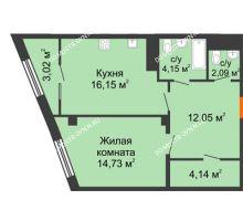 1 комнатная квартира 56,33 м² в ЖК Ренессанс, дом № 1 - планировка