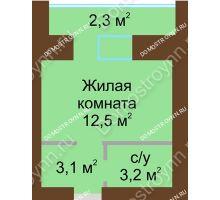 Студия 23,4 м² в ЖК Рубин, дом № 67 - планировка