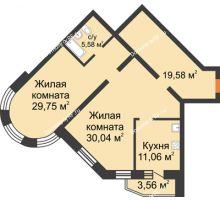 2 комнатная квартира 100,6 м², ЖК На Владимирской - планировка