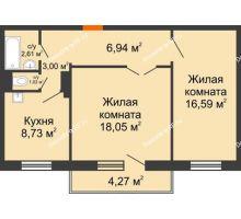 2 комнатная квартира 58,22 м² в ЖК Иннoкeнтьeвcкий, дом № 6