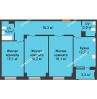 3 комнатная квартира 92 м² в ЖК Квартет, дом № 3 - планировка