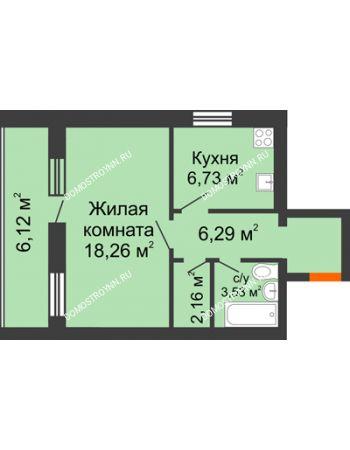 1 комнатная квартира 40,03 м² - ЖК Дом у озера