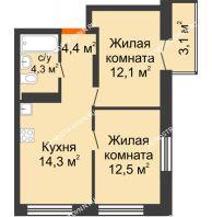2 комнатная квартира 48,53 м² в ЖК Заречье, дом №1, секция 2 - планировка