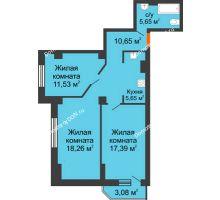 3 комнатная квартира 72,95 м², ЖК Штахановского - планировка