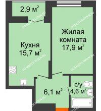 1 комнатная квартира 45,75 м² в ЖК Заречье, дом № 1, секция 1 - планировка